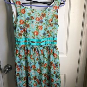 Other - Turquoise floral sleeveless dress with bow